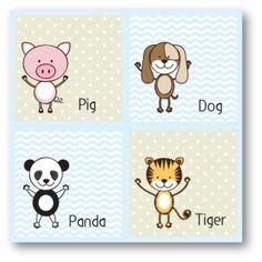 Pig, Dog, Panda, Tiger canvas décor for baby boy's room.  www.mooshimoo.co.za