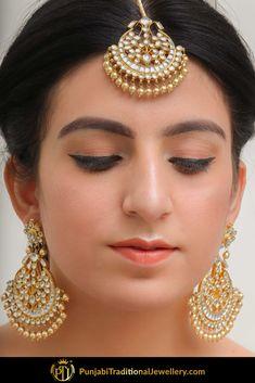 Abir Kundan Earring Tikka by Punjabi Traditional Jewellery Tikka Jewelry, Indian Jewelry Earrings, Indian Jewelry Sets, Fancy Jewellery, Jewelry Design Earrings, Indian Jewellery Design, Stylish Jewelry, Bridal Jewelry Sets, Wedding Jewelry