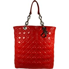 Pre-Owned Dior Red Patent Leather Lady Dior Tote ($850) ❤ liked on Polyvore featuring bags, handbags, tote bags, red, patent leather purse, patent leather tote bag, tote handbags, handbags totes and red tote handbag