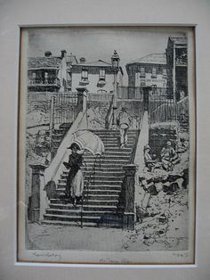 The Essex Steps by Lionel Lindsay, drypoint etching, 24/50.