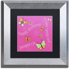 Trademark Fine Art Pink Butterfly Girl Birthday Canvas Art by Jennifer Nilsson, Black Matte, Silver Frame, Assorted
