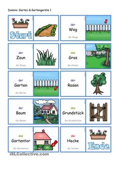 Garten und Gartengeräte 1 _ Domino German Language, Gras, Diy, Vocabulary, Tree Structure, Deutsch, Reading, School, Bricolage