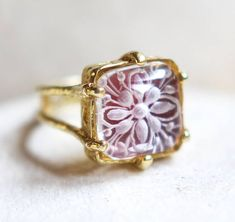 crystal quartz intaglio rock crystal ring red floral ring