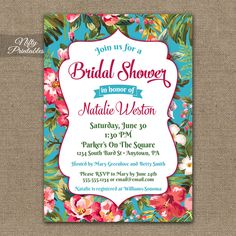 Hawaiian Bridal Shower Invitations – Tropical Luau