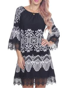 Women's Stylish Scoop Neck 3/4 Sleeve Lace Print Dress