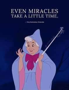 Even miracles take a little time. Fairy Godmother, Cinderella Beautiful Disney Quotes, Best Disney Quotes, Disney Princess Quotes, Disney Movie Quotes, Disney Cinderella Quotes, Quotes From Movies, Disney Quotes About Love, Disney Quotes To Live By, Pixar Quotes