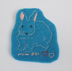 Mini-Rex Hand Embroidered Felt Magnet by TheEmbroideryBunny #etsyrabbits