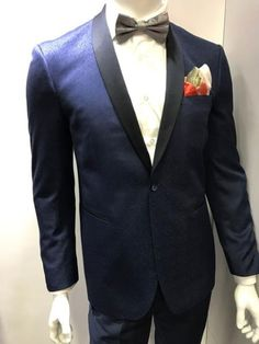 Adorable and stylish two toned navy blue shawl collar dinner jacket for men.