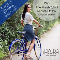 Win The Mindy skirt! Follow, repost and tag @iladorawear to be entered in our Instagram giveaway. One winner, drawn at random after Friday will be rocking The Mindy on her next ride #bikebeautiful #sfstyle #bikestyle #sf #fashion #style #bike #giveaway #contest #skirt #bikepretty #publicbikes