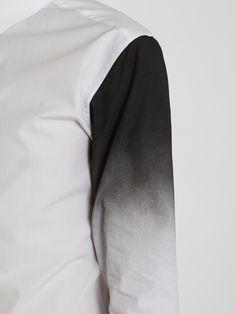 Neil Barrett Dipped Sleeve Shirt in White/ Black