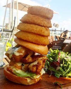 Throwback to one of the signatures dishes (or should I say  signature tower...) we had for lunch yesterday  @taphousedubai They had me at Fried chicken  and Truffles then threw in a ton of other stuff too plus some really good onion rings.
