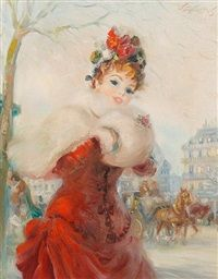 Portrait of a lady in red by Frederic John LLoyd Strevens