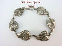 """Estate Danecraft Sterling Silver 925 Detailed Leaf Leaves Bracelet 7.5"""" #Danecraft #Link"""