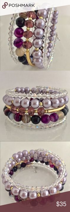 Purple Layered Memory Wire Bracelet M A T E R I A L S:  • Memory wire, silver-plated tempered stainless steel, 7 in. bracelet • 2mm Clear Transparent Crystal glass Rondelle Faceted Beads • 6mm Green agate beads • Silver Spacer Beads • Silver Bars Jewelry Bracelets