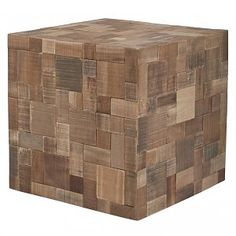 Zuiver Poef hout bruin 40x40x40cm, Mosaic patchwork (99,00)