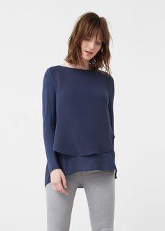 Blusa volante bajo - Camisas de Mujer | MANGO España