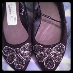 NWT charming Charlie flats Brand new! Black pointed flats with crystal design. Super cute for the holidays or a giftsize 8. Price firm  Charming Charlie Shoes Flats & Loafers