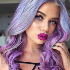 Pastel coloured hair in soft curls.