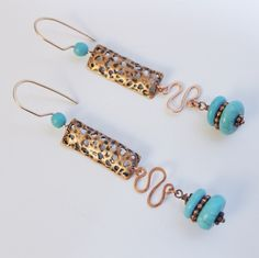 Turquoise and Copper Wire Design Dangle Earrings