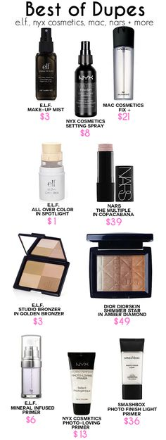 Dupe Guide, Makeup Dupes Guide, Elf Dupes, Nars Makeup Dupes, Smashbox Dupes