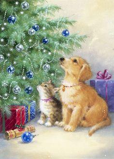 Christmas Scenes, Christmas Pictures, Christmas Art, Christmas Horses, Christmas Animals, Christmas Clipart, Vintage Christmas Cards, Christmas Background, Christmas Wallpaper