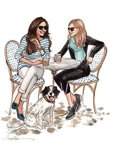 February 2014 - Happy Galentine's Day by Inslee Haynes Art And Illustration, Friends Illustration, Coffee Illustration, Fashion Sketches, Art Sketches, Fashion Illustrations, Arte Fashion, Jean Délavé, Bff Drawings