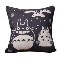 Pair of Black Totoro Series Print 45CMx45CM Linen Throw Pillows Sofa Cushions Cover Case