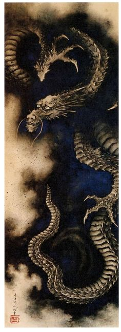 Dragon in Rain Clouds, hanging scroll, ink and colour on paper, 1849.