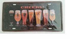 CHEERS! BEER Logos Metal License Plate NEW SEAL RARE FREE S&H CONTINENTAL US #BEER