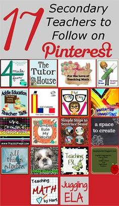 17 Secondary Teachers to Follow on Pinterest! Come see these awesome pinners for all your secondary needs.