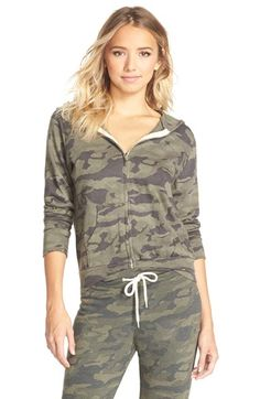 Monrow Camouflage Zip Up Hoodie