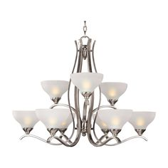 This nine light contour multi-tier chandelier fixture features durable steel construction with a luxurious nickel finish. Turn up the brightness in any room and add elegant style to your decor with this fantastic fixture.