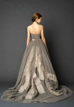 grey bridal gowns / http://www.himisspuff.com/colorful-non-white-wedding-dresses/8/
