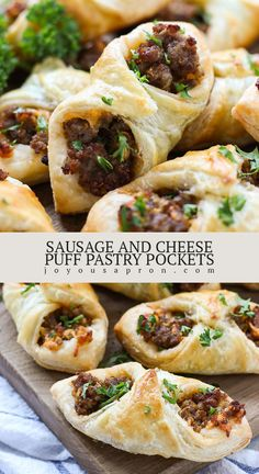 Sausage and Cheese Puff Pastry Pockets - the perfect appetizer and snack for New Year Eve parties, holidays and game day! Crumbly ground pork sausage and cheese wrapped in a flaky puff pastry.delicious and super easy! New Years Eve Snacks, New Years Appetizers, Yummy Appetizers, Appetizers For Party, Sausage Appetizers, Best Appetizer Recipes, Recipes Appetizers And Snacks, Drink Party, Puff Pastry Recipes