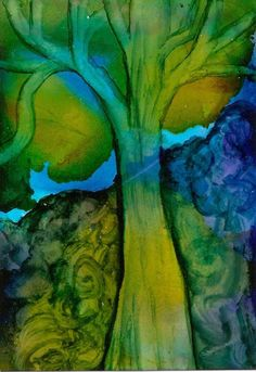 ACEO WONDERS2017 Abstract Blue Tree Silhouette Alcohol Ink Art Penny StewArt #Abstract