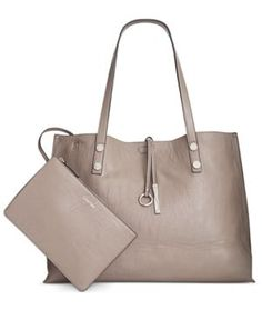 Calvin Klein Extra Large Reversible Tote with Pouch - Gray