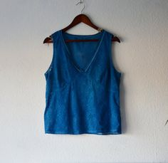 Indigo lace top vibrant blue upcycled natural by EthicalLifeStore