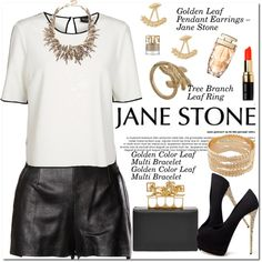 Jane Stone Jewelry by oshint on Polyvore featuring moda, VILA, Moschino, Giuseppe Zanotti, Alexander McQueen, Bobbi Brown Cosmetics, vintage and janestone