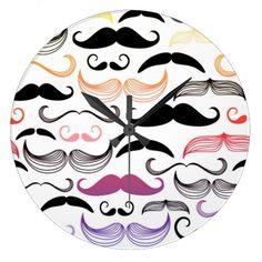 Funky Rainbow Mustache Design Wall Clock