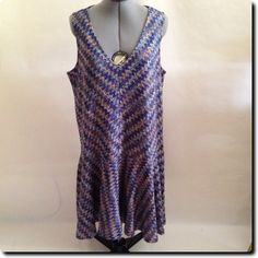 Anthropology - Maeve Flattering Sleeveless Blue and Purple Dress xl - NWT $138