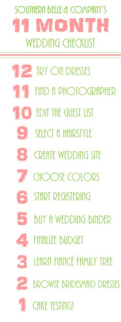 11 Month Wedding Checklist
