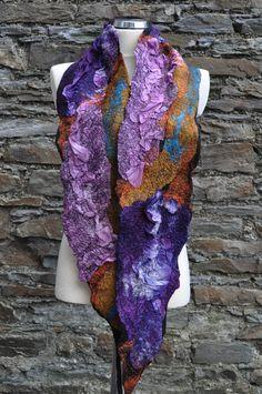 RESERVED Felted scarf silk and wool NEW por AleksandrabWiniarska