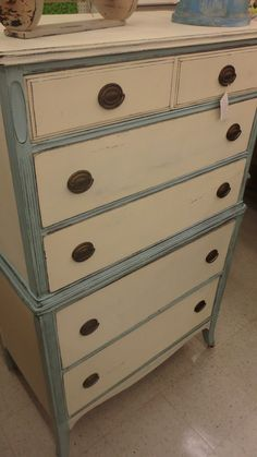 Robin egg& antique white..1940's chest of drawers redo..Righteousdesign..furniture..facebook