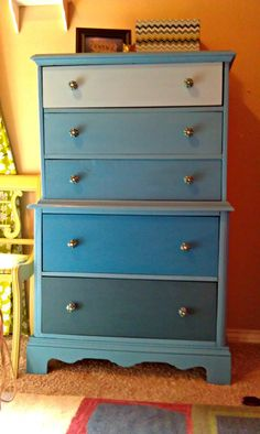 Saved by Suzy: Blue Ombre Dresser with Homemade Chalk Paint