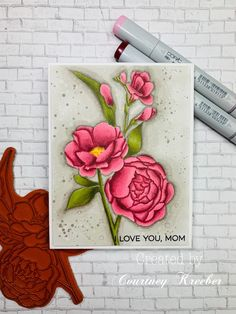 MFT Fresh Cut Flowers/Faux Watercolor with Copics – Courtney's Paper Crafting Neat And Tangled, Mft Stamps, Flower Stamp, Watercolor Background, Watercolour, Copics, Cut Flowers, I Card, Birthday Cards