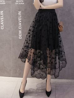 Love the look of this black lace see through flared long skirt. Asymmetric Hem See-Through Plain Flared Maxi Skirt Street Style Trends, Skirt Outfits, Dress Skirt, Waist Skirt, Midi Skirt, Cute Clothes For Women, Trend Fashion, Spring Fashion, Party Skirt