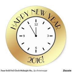 Faux Gold Foil Clock Midnight Happy New Year Classic Round Sticker