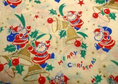 Vintage 1950's Christmas Wrapping Paper, Santa Rings in Christmas, NOS | eBay