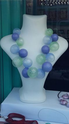 Murano Glass hollow beads necklace by A.G.