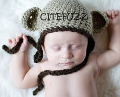 Crochet Baby Hats, Baby Girl Boy hats Newborn Organic Cotton hat Chunky Mini monkey Pewter with Espresso Trim Perfect prop baby gift